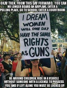 Think about it.The sign is stupid and makes no sense. And, to hold it up says you're stupid marking the end of your credibility. Liberal Logic, Liberal Hypocrisy, Politicians, Out Of Touch, Gun Rights, Conservative Politics, Funny Politics, Political Memes, Feminism
