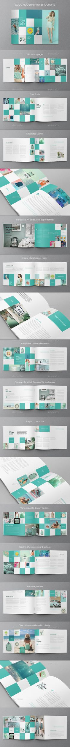 Cool Minimal Mint Brochure — InDesign INDD #brochure #creative • Available here → https://graphicriver.net/item/cool-minimal-mint-brochure/14763155?ref=pxcr