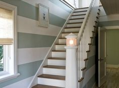 LOVE the whimsical staircase banister light(house)!