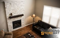 Fireplace done Alabaster Shadowstone from Realstone Systems.