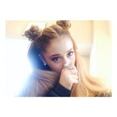 Totally Trendy Pigtail Buns ❤ liked on Polyvore featuring hair, ariana grande and ariana