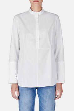 // Protagonist — Shirt 20 Collarstand Shirt With Princess Seams   White — THE LINE