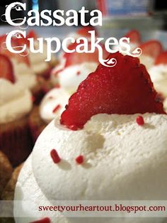 Cassata cupcakes. these are amazing! yellow cake with strawberries, custard, and whipped cream frosting. yum!