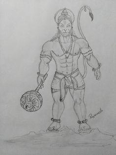 Lord Hanuman Pencil Sketch
