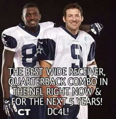 You better know it! Dallas Cowboys Football, Football Team, Tony Romo, Wide Receiver, Nfl, Board, Mens Tops, Football Squads, Nfl Football