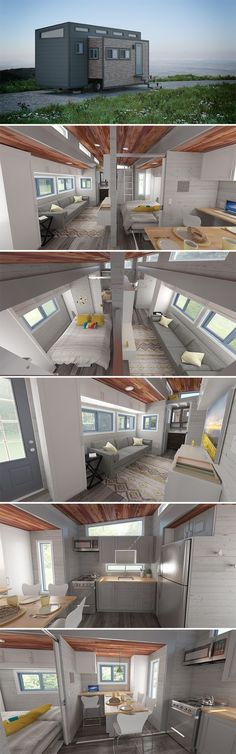 """Aurora is a 26' tiny house on wheels with two large motorized slide outs. When expanded, the tiny house measures 15'10"""" wide and totals 337-square-feet. (small apartment living ideas) #tinyhouseideasonwheels"""