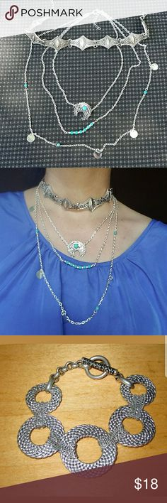 😍BUNDLE😍Jewelry set Choker and boho turquoise silver layered necklace come with a matching Kenneth Cole bracelet Kenneth Cole Jewelry