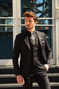 Collection : SPRİNG - SUMMER : Slim-Fit suit vest BlackColor code : BLACKAvailable Size : material : viscon , polyester , elestan Machine washable : No Fitting : slim-fit Cutting : double slit, double buttonRemarks : Dry Cleaner Black Suit Vest, Black Outfit Men, Mens Suit Vest, Black Suits, Mens Suits, Black Men, Groom Suits, Groom Attire, Slim Fit Suits