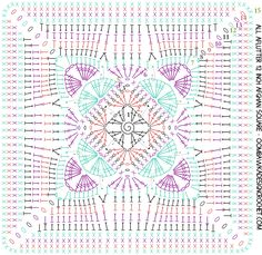 Crochet Square Patterns All Aflutter 12 Inch Afghan Square Designed by Oombawka Design 2017 - All Aflutter Afghan Square - Oombawka Design Crochet Mandala Pattern, Crochet Square Patterns, Granny Square Crochet Pattern, Crochet Diagram, Crochet Chart, Crochet Granny, Motifs Granny Square, Crochet Squares Afghan, Crochet Blocks