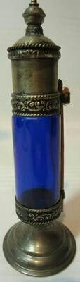Old Arabic Glass Inkwell Cobalt Blue Late 1800's