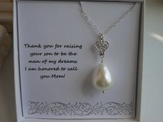 Mother of the Groom Gift, Mother in Law Gift,  Silver Heart Necklace,Thank You Mom, Pearl Necklace, Gifts For Mom, Wedding on Etsy, $31.00