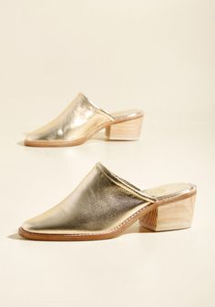 Mule Be Back Leather Heel in Gold, #ModCloth