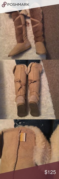 LOVE FROM AUSTRALIA Thigh High Vixen Fur OTK ugg 8 This is an incredible pair of Love From Australia thigh high beige suede and fur boots. This style is no longer made and impossible to find. 100% sheepskin upper and lower with man made sole. Only worn 3 or 4 times. Size 8. No trades please 💕 Not Ugg brand. UGG Shoes Over the Knee Boots