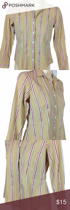 """Ann Taylor LOFT LS Striped Button-Up Blouse Sz XSP Ann Taylor LOFT Petites women's long sleeve striped button front blouse in great condition. Size XSP.  Product Features: Beige with dark red and white vertical stripes Clear buttons down the front 100% cotton Measurements (lying flat - across the front):  Chest - 17"""" Length -  21"""" Sleeve - 21.5"""" _______  * Comes from a clean, smoke-free, pet-free environment. * Color variations may occur due to the flash of my camera, and/or lighting. Ann…"""