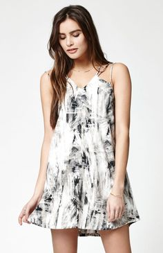 Beveled Printed Strappy Dress