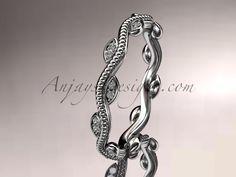 platinum diamond leaf and vine engagement ring, wedding band ADLR33B