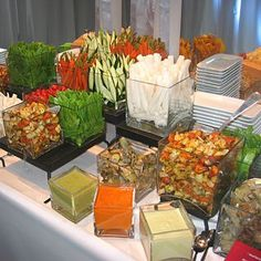 I love the idea using the square glass flower vase for a salad bar. It is a very attractive design.