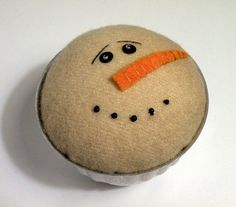 Primitive Snowman Pincushion Snowman Tart Tin by Handofbelapeck, $13.50