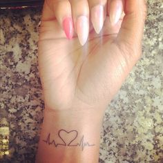 Heart beats, tattoo done by artist Issacc Dope Tattoos, Body Art Tattoos, New Tattoos, Small Tattoos, Tatoos, Wedding Date Tattoos, Tattoo Addiction, Lines On Nails, Pastel Nails