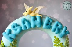 Personalized name garland / wreath felt dinosaur theme by TiTics