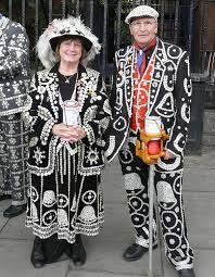 Pearly Kings and Queens, known as pearlies, are a organised charitable tradition of working class culture in London, England.  The practice of wearing clothes decorated with so-called pearl, actually mother-of-pearl buttons originated in the 19th century.  It is first associated with Henry Croft, an orphan street sweeper who collected money for charity.  Photo: wikipedia.org