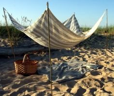 Beach Blanket- Pure Linen- Stripes Grey and Off White- Beach Life Survival Kit