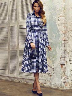 Long Sleeve Blue Plaid Lapel Women's Day Dress - m.tbdress.com