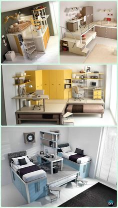 Vertical Bed Office Design-Space Saving Kids Room Furniture Design