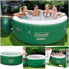 Outdoor Spa 4 People Portable Pool Patio Deck Camping Relaxing Round Green New Outdoor Spa, Outdoor Living, Outdoor Decor, Portable Pools, Rv Trailers, Camping, Patio, Heating Systems, Decks