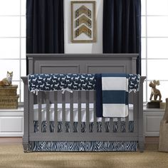 New! Navy Woodland Bumperless Crib Bedding