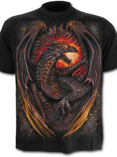 Dragon Furnace T-Shirt - - Medieval Collectibles Latest T Shirt, Tie Dye T Shirts, Branded T Shirts, Outfit, Types Of Sleeves, Cool Shirts, Shirt Style, Shirt Designs, Tees