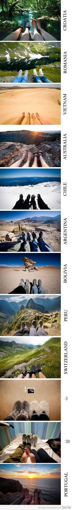 Dezelfde voeten op verschillende bijzondere plekken op aarde. Wat een goed idee voor in Het Vakantieboek! www.belmondo.nl/vakantieboek