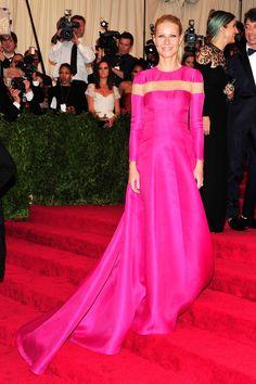 Gwyneth Paltrow. Valentino Couture custom-made shocking pink long sleeve dress. Met Ball, 2013. Photo: PA