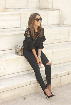 black top black jeans heels gucci bag sunnies outfit fashion style05