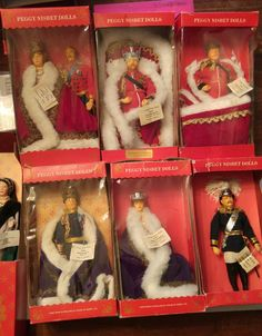 The following Peggy Nisbet Portrait Model Dolls are, Queen Victoria and Prince Albert, King Edward VII second edition metal crown model, King Edward VII first edition plastic crown model, King George , Queen Alexandra, Kaiser Frederick III