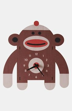 Free shipping and returns on MODERN MOOSE 'Sock Monkey' Clock at Nordstrom.com. A quirky sock monkey clock crafted from sustainably harvested plywood adds whimsy to your child's bedroom.