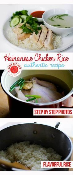 Hainanese Chicken Rice Recipe with step by step photos for the perfect rice and chicken skin texture ~ I got a 6 lb chicken instead of a 3 lb one, so I had to simmer for an hour. Served with Ginger chili sauce Hainanese Chicken Rice Recipe, Chicken Rice Recipes, Hainanese Rice, Hainan Chicken Rice, Singapore Chicken Rice Recipe, Asian Recipes, Healthy Recipes, Easy Recipes, Asian Desserts