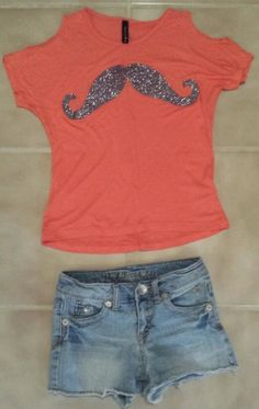 Girls Justice Shorts Size 8 R & Tilly's Full Tilt Shirt Small Outfit Mustache #Justice