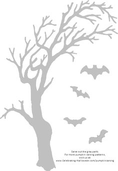 Spooky Tree and Bats Pumpkin Carving Pattern - Celebrating Halloween Pumpkin Carving Bat, Pumpkin Stencil, Holidays Halloween, Halloween Crafts, Halloween Decorations, Halloween Ideas, Pumpkin Template, Pumpkin Carving Templates, Kitt Knight Rider