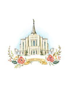 Gilbert Arizona Temple LDS Mormon Wedding gift by PacePaintings