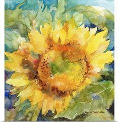 Annelein Beukenkamp Poster Print Wall Art Print entitled Sunshower, None Watercolor Sunflower, Watercolor Flowers, Watercolor Paintings, Watercolors, Watercolor Ideas, Sunflower Paintings, Sunflower Canvas, Yellow Sunflower, Abstract Watercolor
