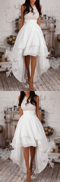 Sleeveless High Low White Prom Dress,Homecoming Dress,Party Dresses M0280#prom #promdress #promdresses #longpromdress #promgowns #promgown #2018style #newfashion #newstyles #2018newprom#eveninggowns#sleeveless#highlowprom#whitepromdress#homecoming