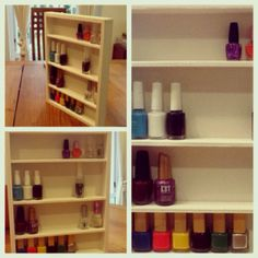 Handmade nail polish organizer for my teenage queen. Made from recycled wood and leftover wallpaper#recycle#diy#nailpolish#craft