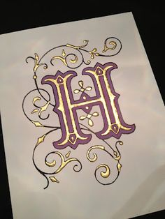 Illuminated Monograms Kimberly Schlegel Whitman: Guest Post: Jen O'Neal of Halo Calligraphy Fancy Letters, Letters And Numbers, Calligraphy Letters, Typography Letters, Islamic Calligraphy, Illuminated Letters, Illuminated Manuscript, Graffiti Alphabet, Hand Lettering