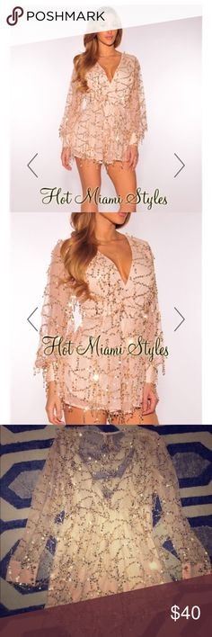 Gold sequin romper Popular gold sequin romper (bodysuit seen on Khloe K). From Hot Miami Styles. True to size. hotmiamistyles Pants Jumpsuits & Rompers