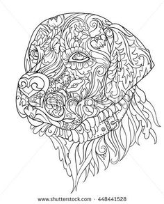 coloring pages - Labrador Stock Vectors, Images & Vector Art Dog Coloring Page, Free Adult Coloring Pages, Mandala Coloring Pages, Animal Coloring Pages, Coloring Book Pages, Dog Illustration, Zentangle Patterns, Animal Design, Vector Art
