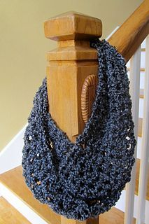 one hour one skein crocheted open weave infinity scarf