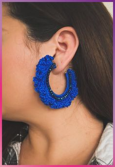 Earrings Hoop Blue Crochet Earrings, Crochet jewelry, blue Hoop Earrings, crochet hoop earrings, handmade earrings - Top off your look with these crochet earrings. These earrings are crocheted by hand and very lightweight design. Crochet Earrings Pattern, Crochet Vest Pattern, I Love Jewelry, Metal Jewelry, Beaded Jewelry, Etsy Earrings, Earrings Handmade, Hoop Earrings, Quilling Earrings