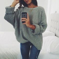 Grey oversized sweater // Cozy up on the couch and shop Effinshop.com for similar pieces xx