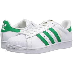 adidas Originals Superstar Foundation (Footwear White/Green/Gold... ($80) ❤ liked on Polyvore featuring men's fashion, men's shoes, mens green shoes, mens shoes, mens white shoes, mens lightweight running shoes and mens retro shoes